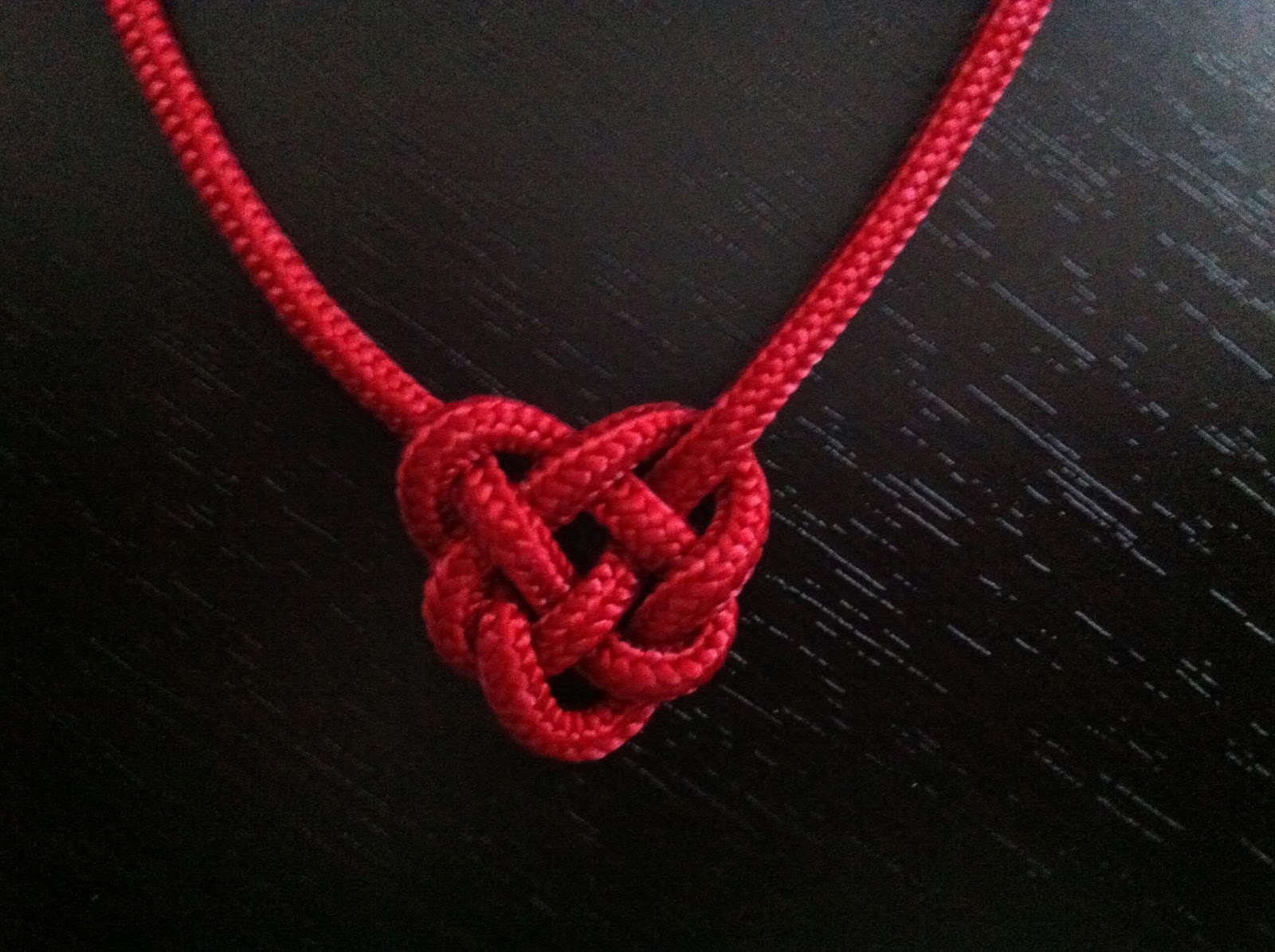 One Man S Knotting Journey Red Celtic Heart Knot Necklace
