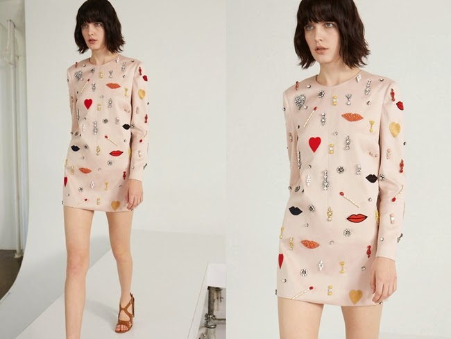 Stella McCartney Resort 2014 Aubin Embellished Sateen-Twill Lips Dress