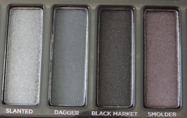 Urban Decay Naked Smoky Palette (from left) Slanted, Dagger, Black Market, Smolder