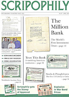 Scripophily magazine featuring Million Dollar Bank certificate
