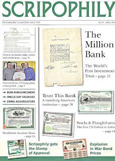 Scripophily magazine featuring Million Dollar Bank certificate