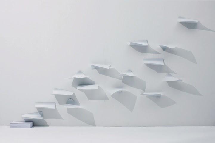 Floating Paper Shelves