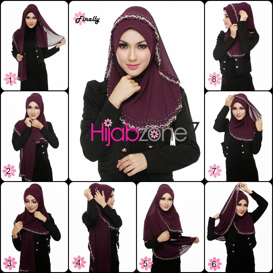 Hijab Online Malaysia: Tutorial Halfmoon Shawl Candy Pearls. Gaya