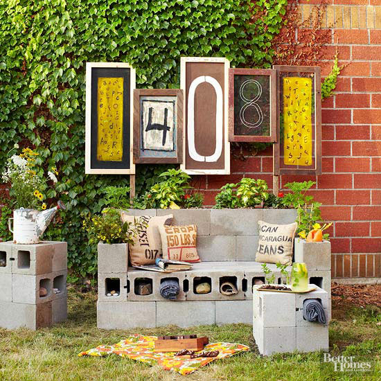 Creating Tables And Benches Out Of Concrete Cinderblocks Provides Ample  Space For Outdoor Storage And Places To Plant Greenery, Too.