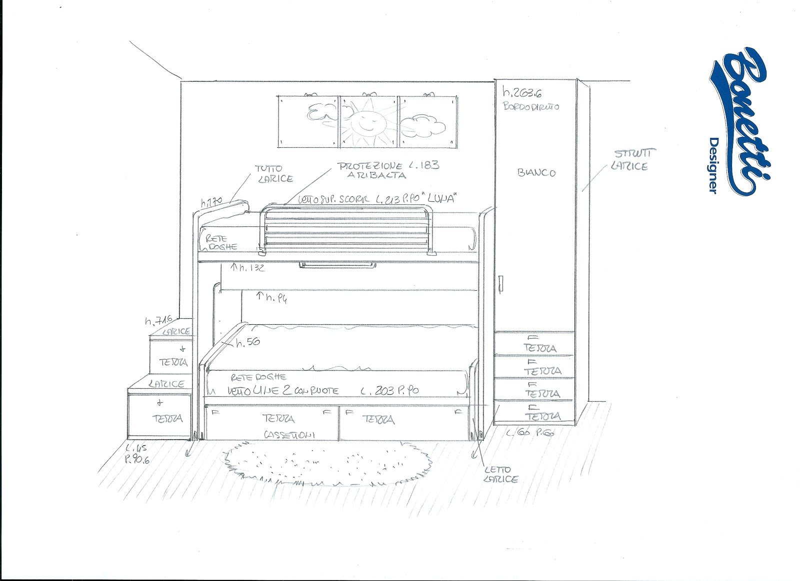 Camerette bambini 2 letti misure idee per il design for Letto a ponte misure