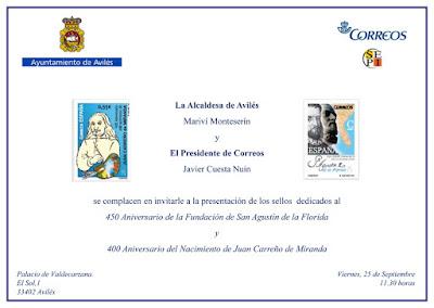 Invitación a la presentación de los sellos dedicados a Efemérides en Avilés