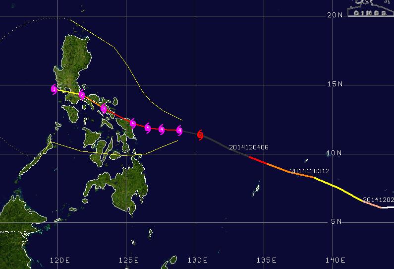 Traject tyfoon Hagupit