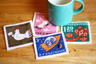 postage stamp coasters