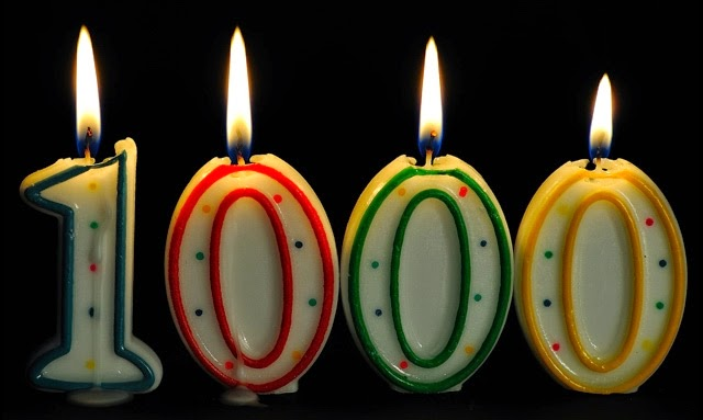 """1000"" in number shaped candles, lit"