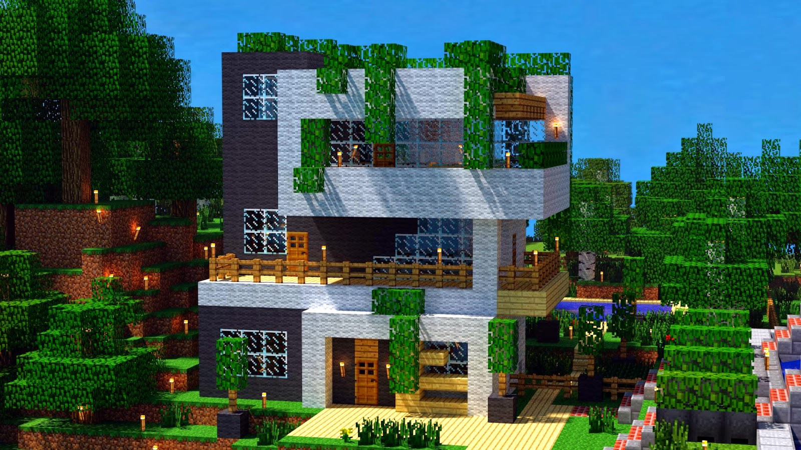 A Modern House Created In Minecraft