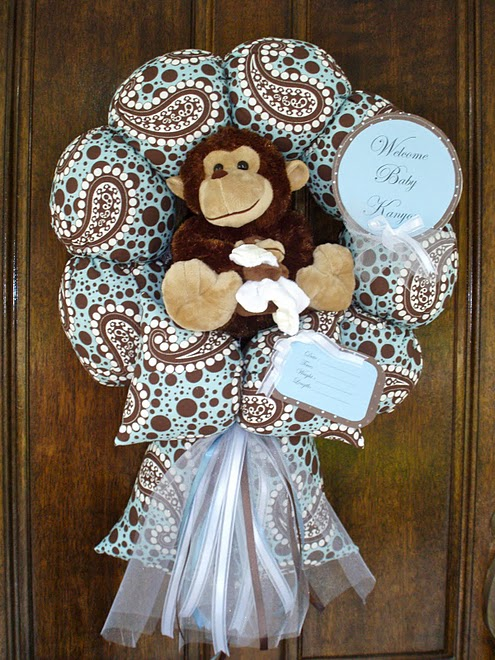 41. Custom Monkey Wreath to Match Bedding