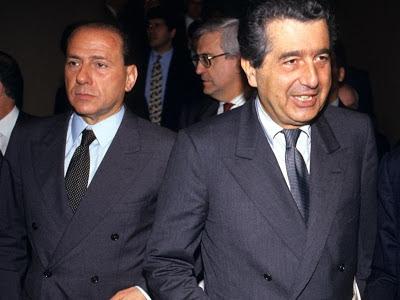 Silvio Berlusconi and Carlo De Benedetti depart