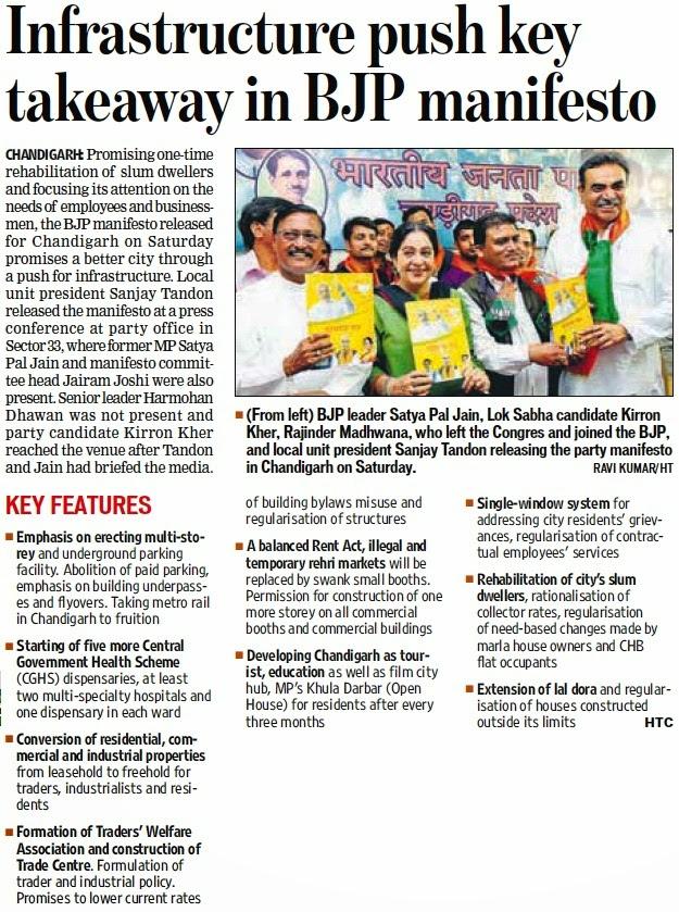 BJP leader Satya Pal Jain, Lok Sabha Candidate Kirron Kher & other BJP leaders releasing the pary manifesto in Chandigarh on Saturday. Ravi Kumar