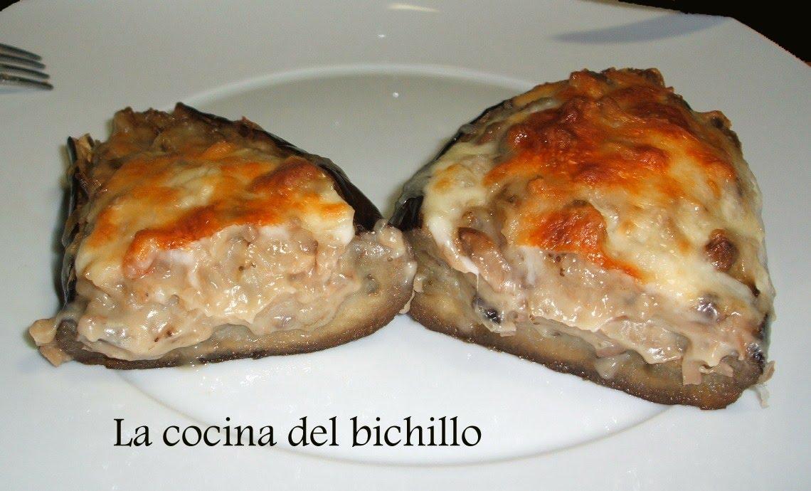 La cocina del bichillo berenjenas rellenas de champi ones for Cocina berenjenas rellenas