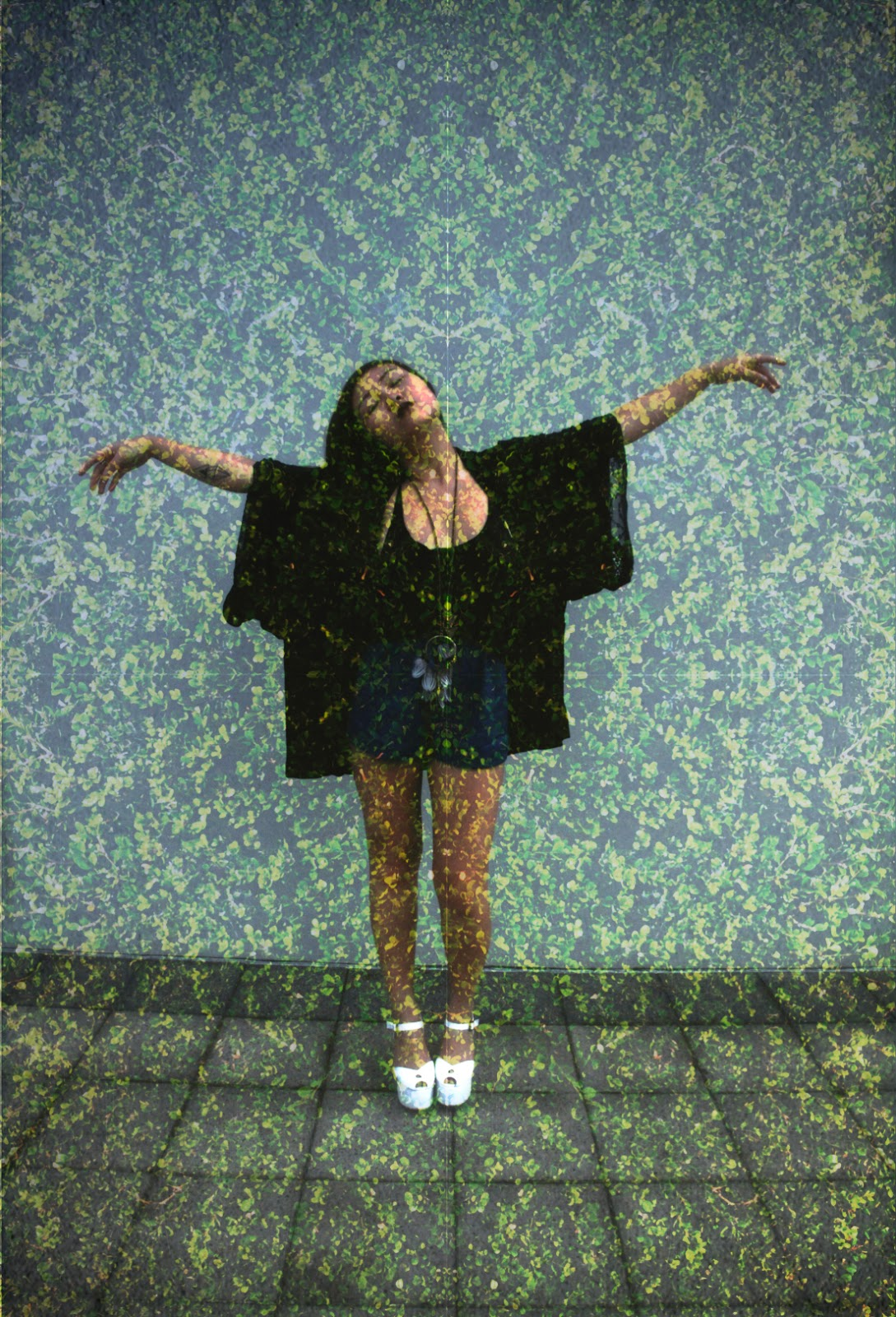 double exposure shot by anthea from épique featuring lace kimono