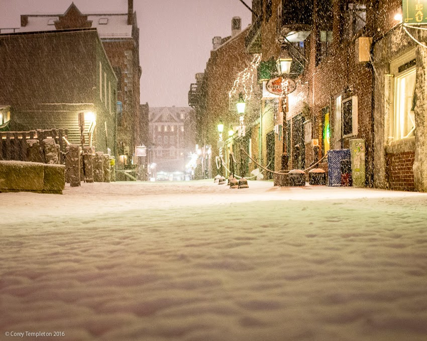 Portland, Maine USA January 2016 photo by Corey Templeton. A cobblestone-level view of Wharf Street during Tuesday's storm.