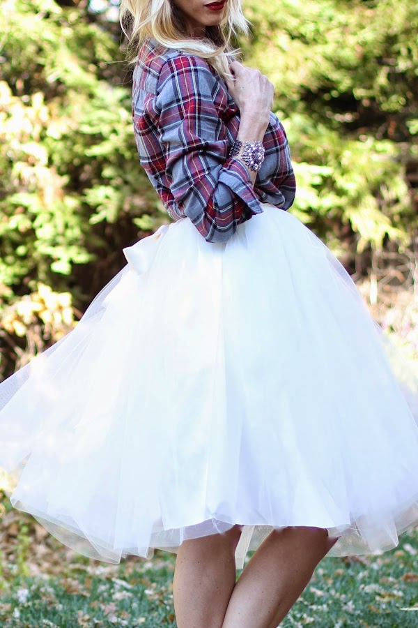 DIY tulle skirt and plaid