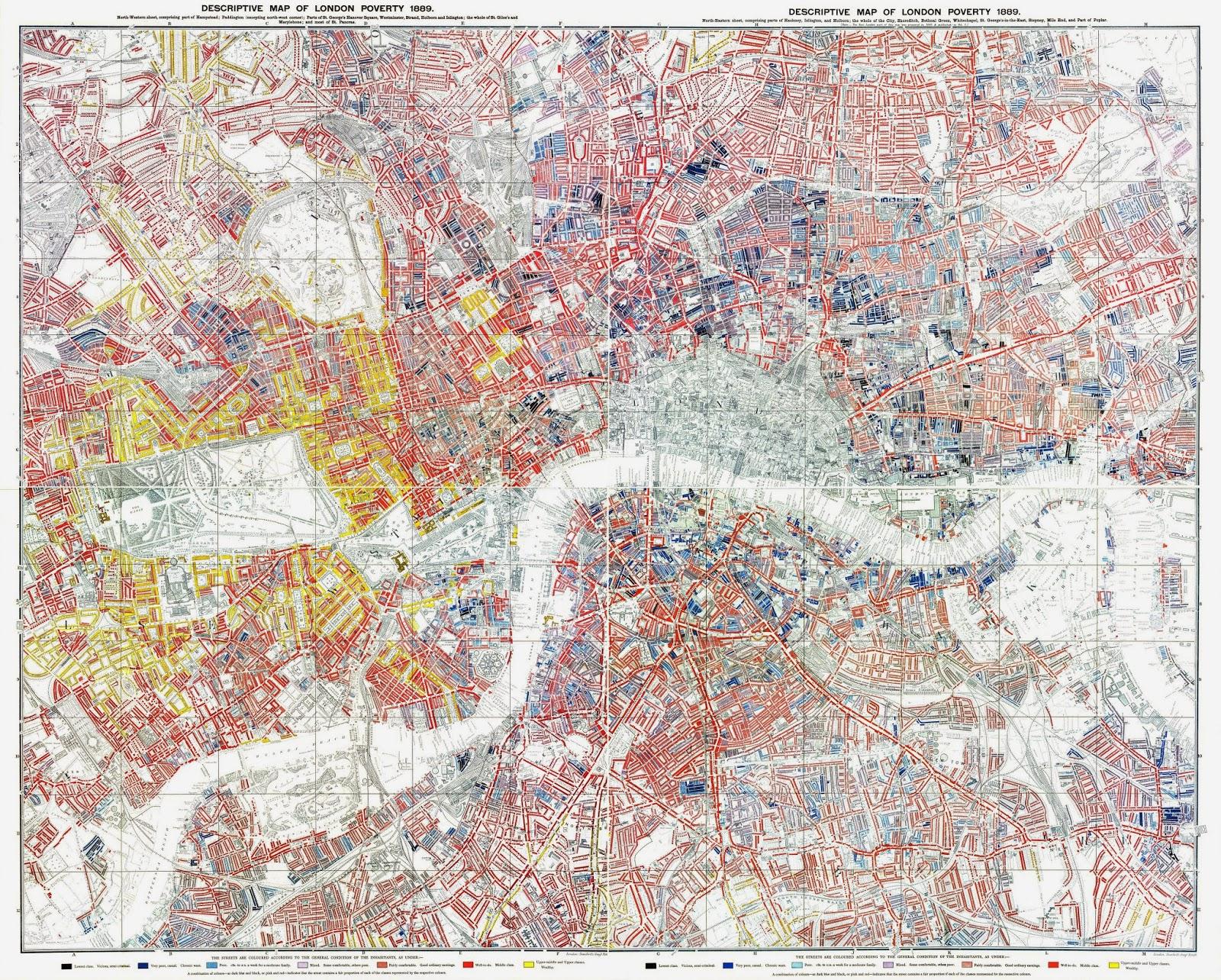 Карта Лондона, раскрашенная по финансовому положению жителей. 1889 год!
