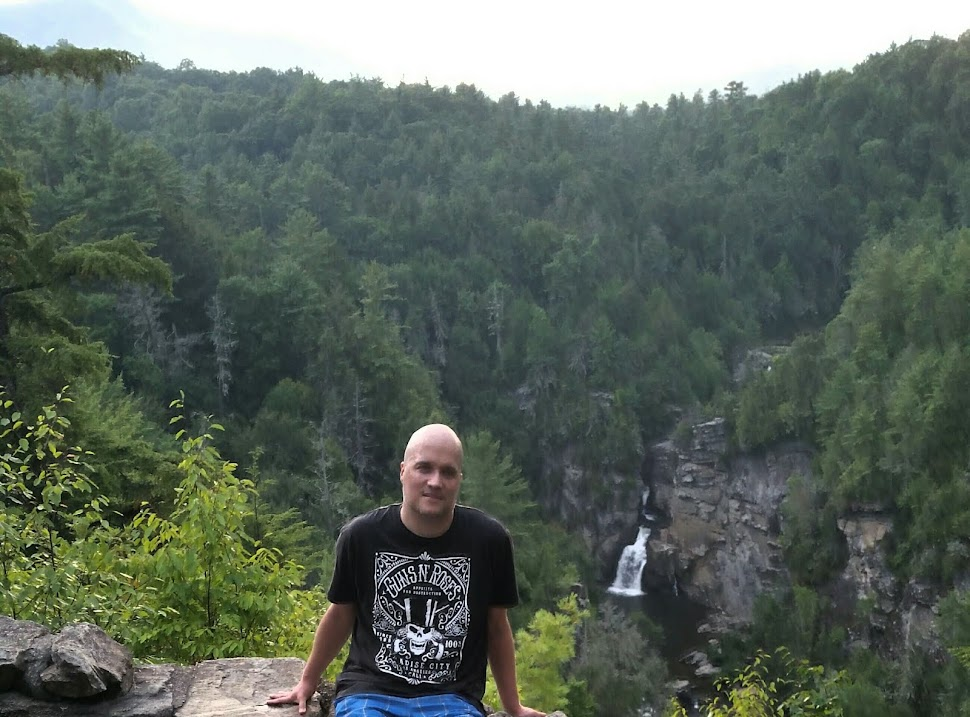 Linville Falls.  Look at Kade's image above.  In the gorge below her, follow the river.