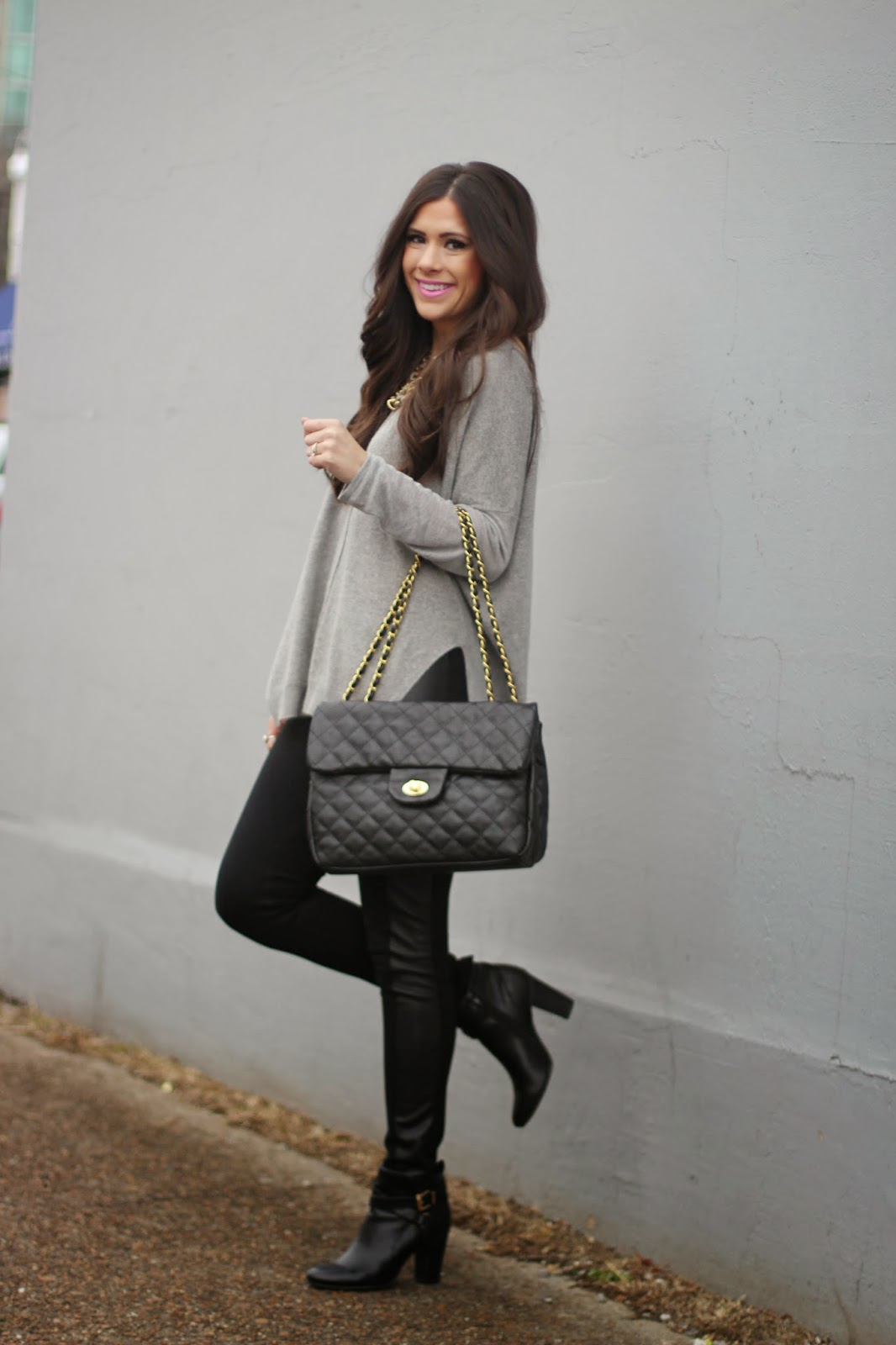 www.TheSweetestThingBlog.com, Emily Gemma, Pink Lipstick, Faux Leather Leggings, Black Quilted Bag, Hatch Jewelry, Druzy Ring, Fashion Blogger, Style Blogger, All Black Outfit, Windsor Store, MAc Lipstick, Pinterest Fashion