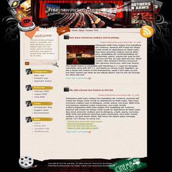 Show Time blogger template. converted WordPress to Blogger template. music template blog