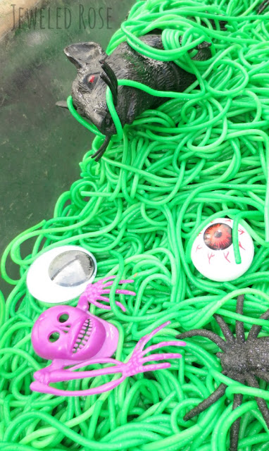 "Goblin Guts Halloween Treasure Hunt for Kids- hide fun & silly surprises in ""goblin guts"" and let kids dig and find them.  Lot of giggling is sure to ensue as they eeww and ahhh"