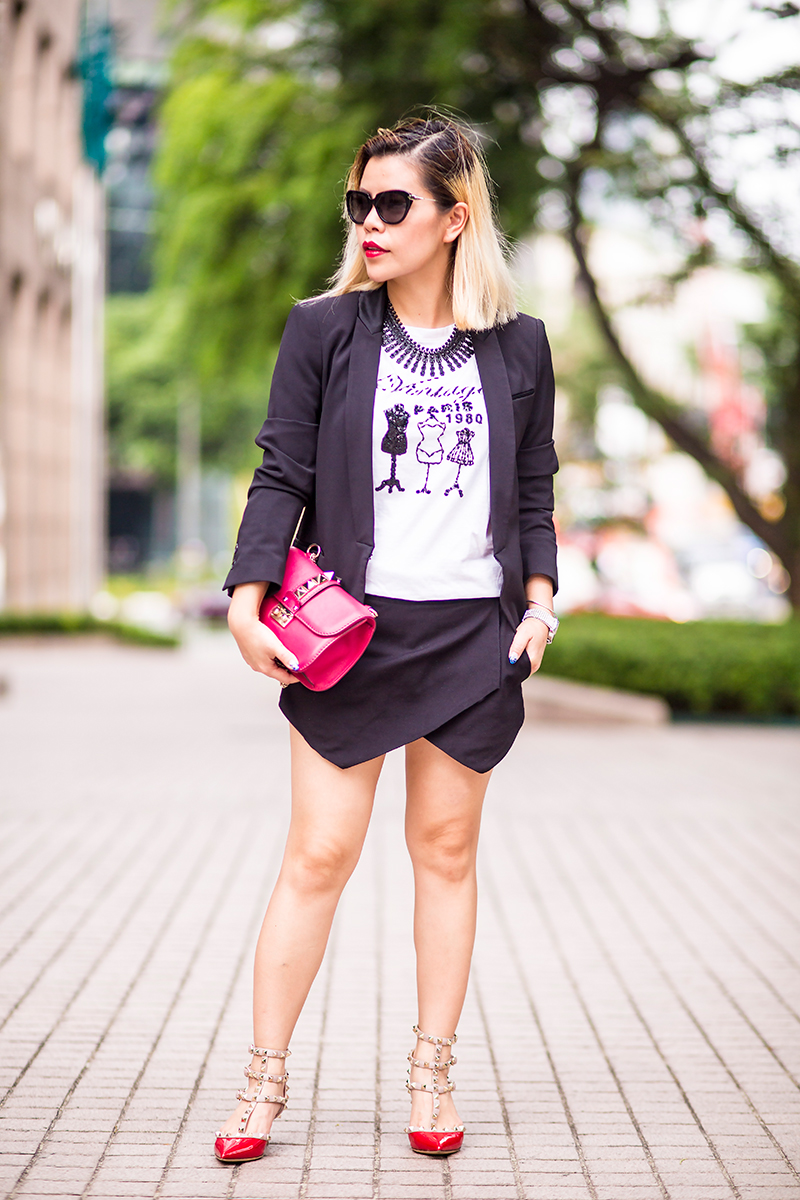 Crystal Phuong- Singapore Fashion Blogger- Black skorts suit