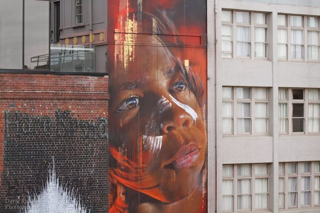 Matt Adnate spent the last few days on Hosier Lane in Melbourne working on this sweet new piece.
