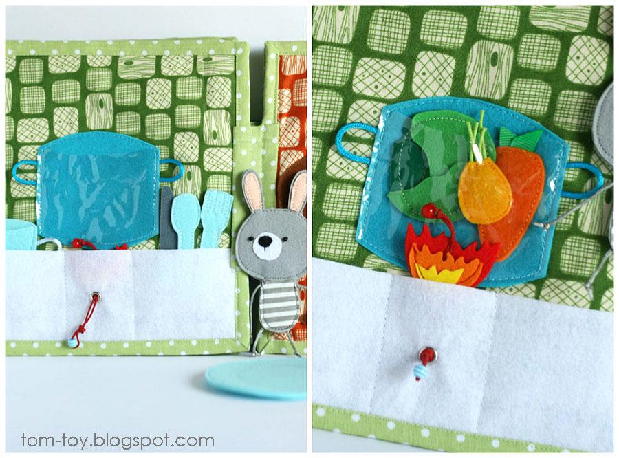 Bunny day quiet busy book for children, pretend play, cooking, kitchen,  развивающая книжка день зайчика, варим суп
