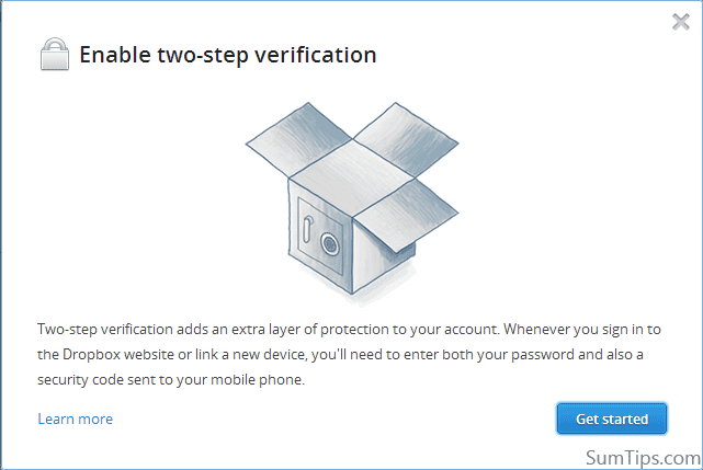 Enable Two-Step Verification on Dropbox Account