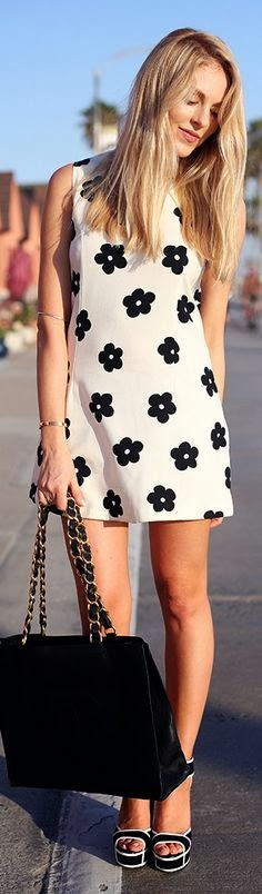 Black Floral White Mini Dress
