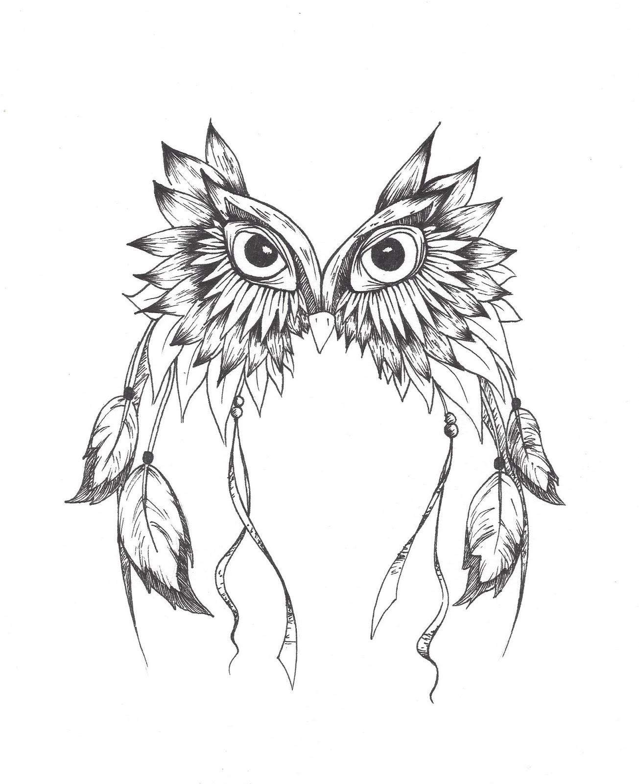 Owl dreamcatcher drawing - photo#2