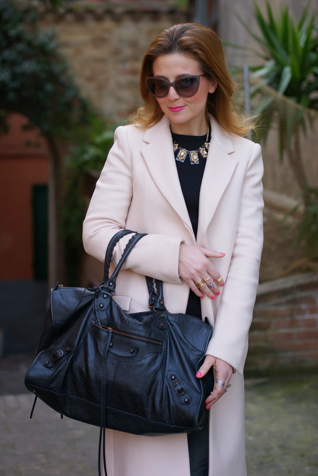 Balenciaga work bag, Zara pink coat, Fashion and Cookies, fashion blogger