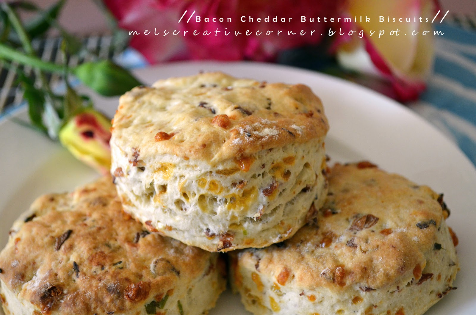 Mel's Creative Corner: Bacon Cheddar Buttermilk Biscuits!
