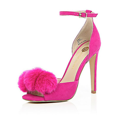 River Island Pink heels with pom poms