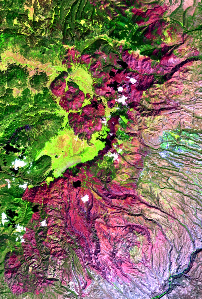 A satellite image of the 2011 Las Conchas Fire in New Mexico shows the 150,874 acres burned in magenta and the unburned areas in green. This image was created with data from the Monitoring Trends in Burn Severity (MTBS) Project that the authors of a new study used to measure large wildfires in the western United States. (Credit: Philip Dennison/MTBS) Click to enlarge.