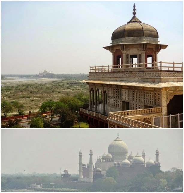 taj mahal view red fort vue fort rouge yamuna agra inde