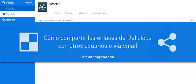 Cómo compartir los enlaces de Delicious con otros usuarios o vía email