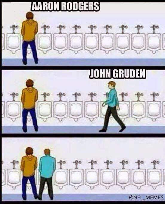 aaron rodgers, jon gruden. urinal meme.-  #nfl #meme, #aaronrodgers, #jongruden #packers #urinal