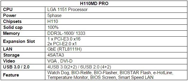 BIOSTAR H110MD PRO Motherboard Specs