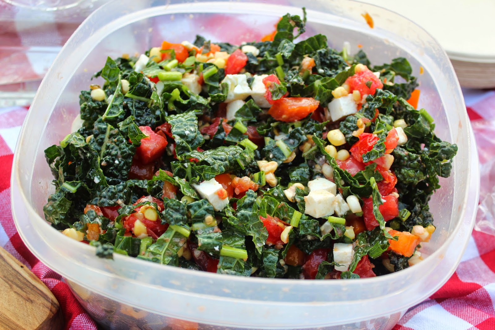 An Innovation Picnic: Kale Summer Salad with Tomatoes, Corn and Feta