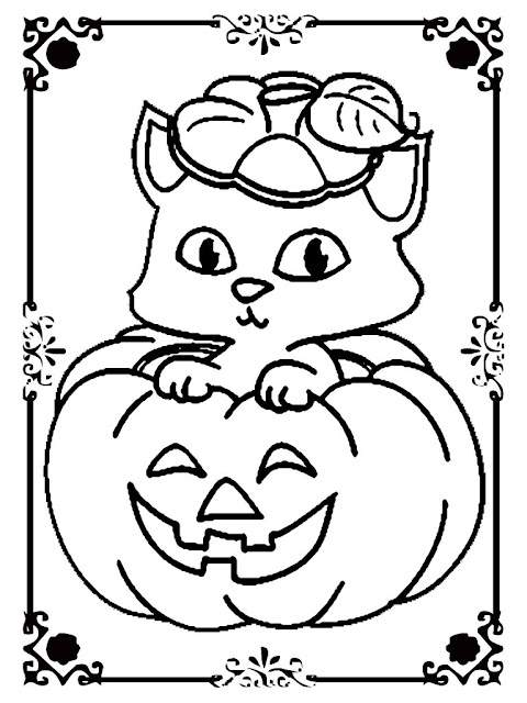 halloween cat and pumpkin coloring pages