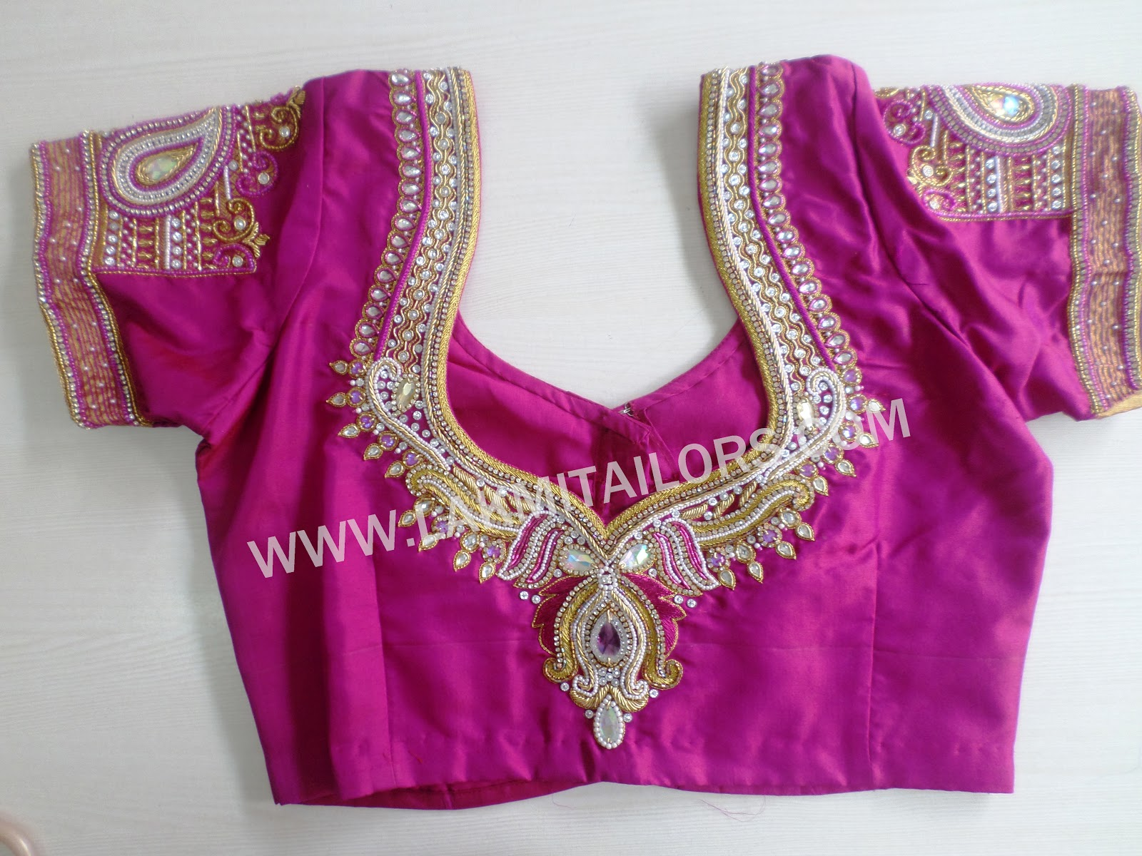 Wedding Blouse Hand Embroidery Designs From Lakmi Tailors