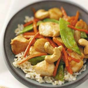http://www.tasteofhome.com/recipes/cashew-chicken-for-four