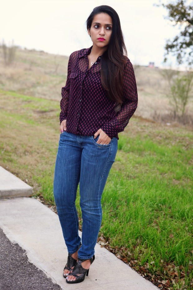 Equipment Blouse, Miss 60 Jeans, Aldo Heels, Tanvii.com