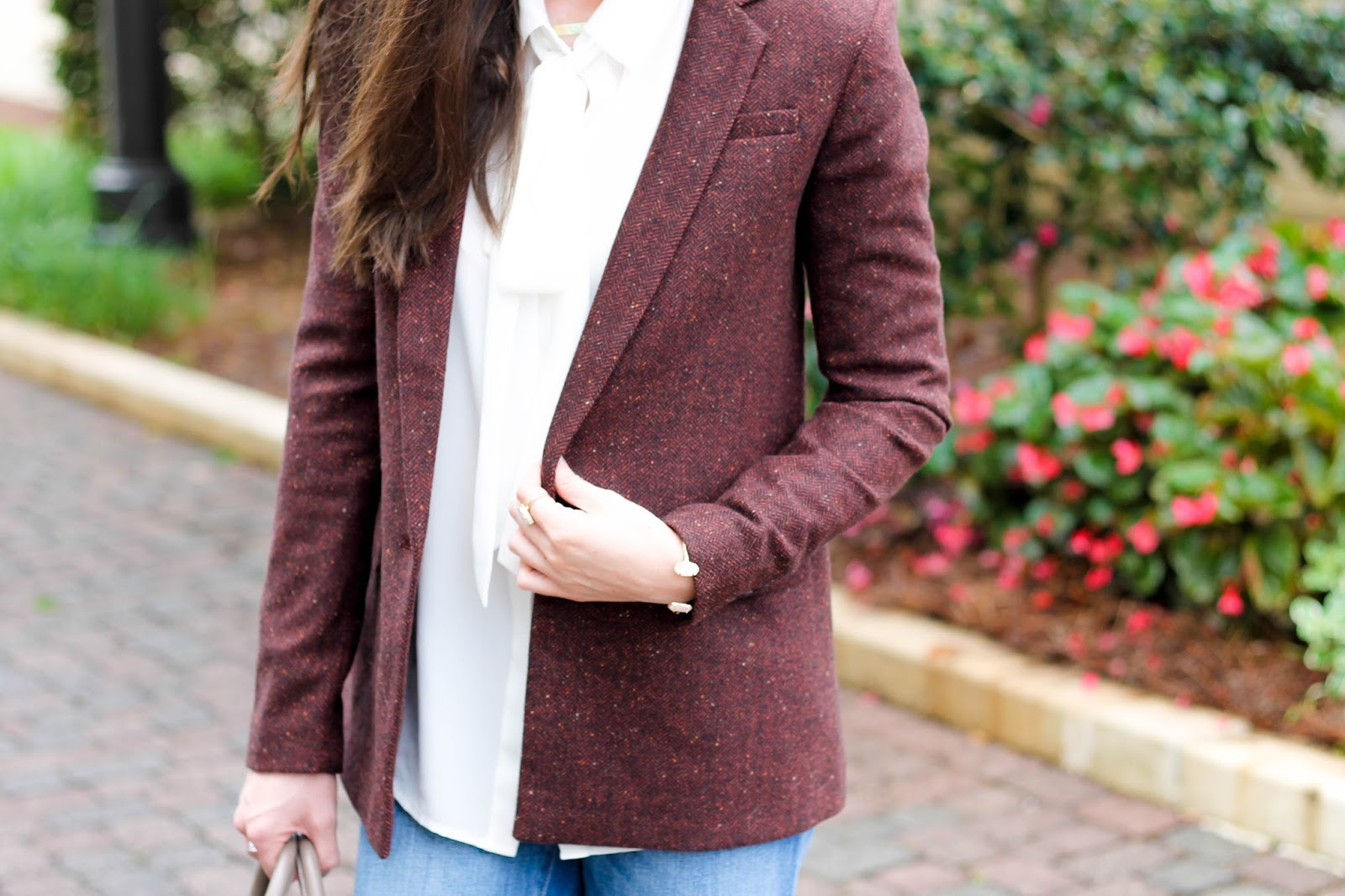 Banana Republic Wool Blend Burgundy Blazer, Business Casual, What to wear to work, work appropriate outfit, blazer for fall, fall outfit, banana republic, white tie neck blouse, loft denim boyfriend jeans, vera bradley satchel, leopard ankle strap shoes, cute fall outfit