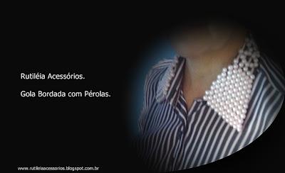 camisa 100% algodão listrada, com aplicação de pérolas na gola