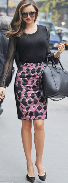 Outfit post black sweater purple floral pencil skirt black pumps | Outfit Posts