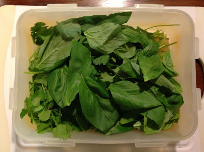 fresh basil and coriander