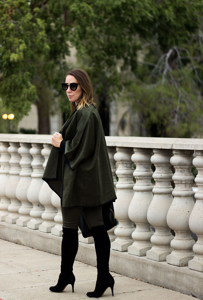 fall poncho, poncho for women, old navy poncho, army green poncho, black lace blouse, army green pants for women, old navy jeans, black over the knee boots, black boots, cole haan boot